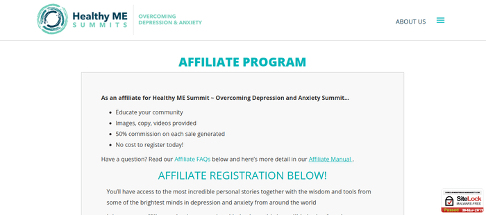 screenshot of the affiliate sign up page for Healthy ME Summit