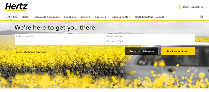 screenshot of the affiliate sign up page for Hertz