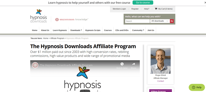 screenshot of the affiliate sign up page for Hypnosis Downloads