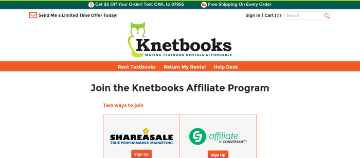 screenshot of the affiliate sign up page for Knetbooks