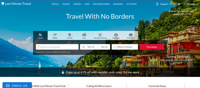 screenshot of the affiliate sign up page for Last Minute Travel