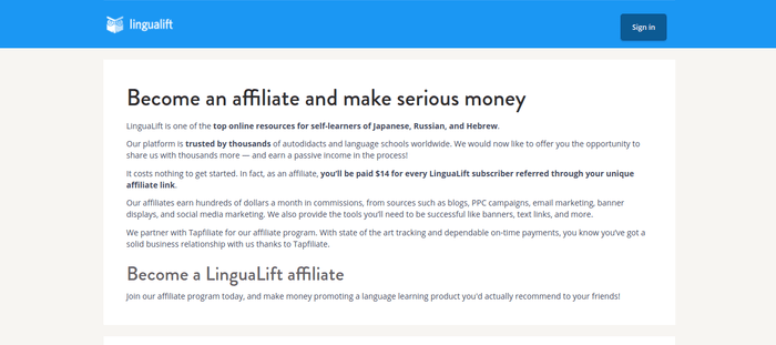 screenshot of the affiliate sign up page for LinguaLift