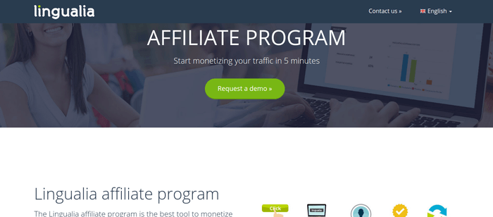 screenshot of the affiliate sign up page for Lingualia