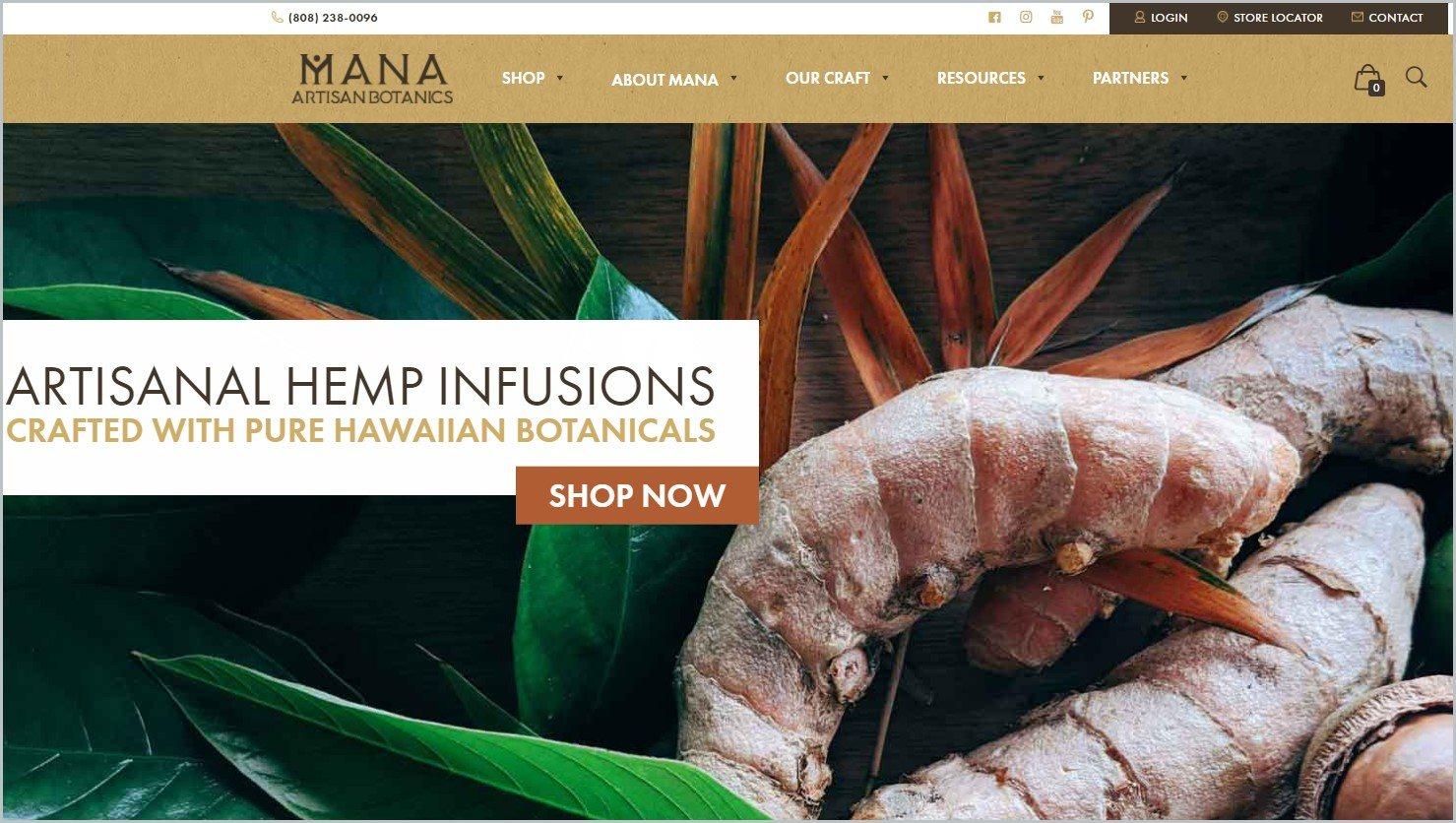 screenshot of Mana Artisan Botanics homepage