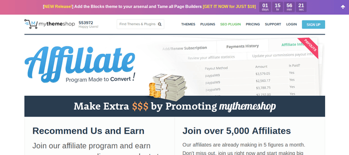 screenshot of the affiliate sign up page for MyThemeShop
