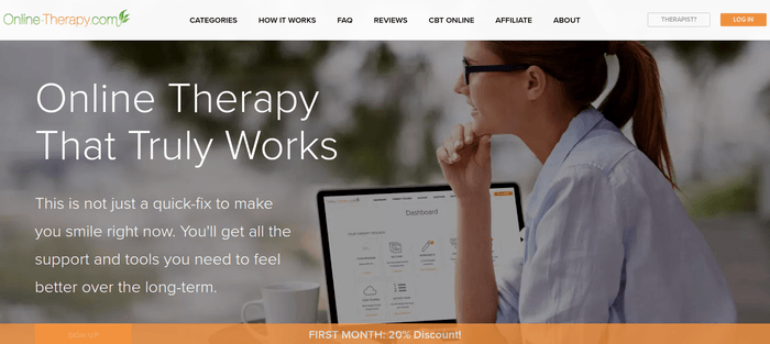 screenshot of the affiliate sign up page for Online Therapy