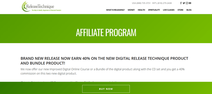 screenshot of the affiliate sign up page for Release Technique