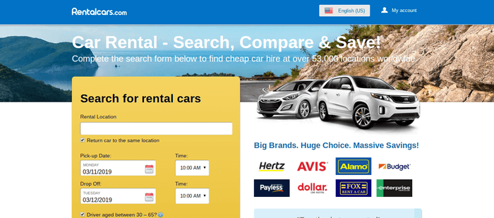screenshot of the affiliate sign up page for RentalCars.com