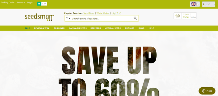 screenshot of the affiliate sign up page for Seedsman