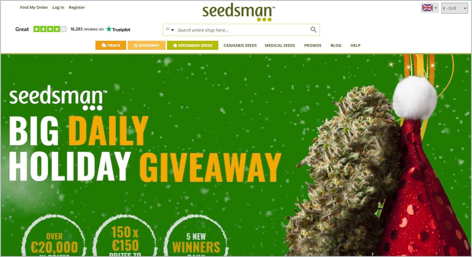 screenshot of Seedsman homepage