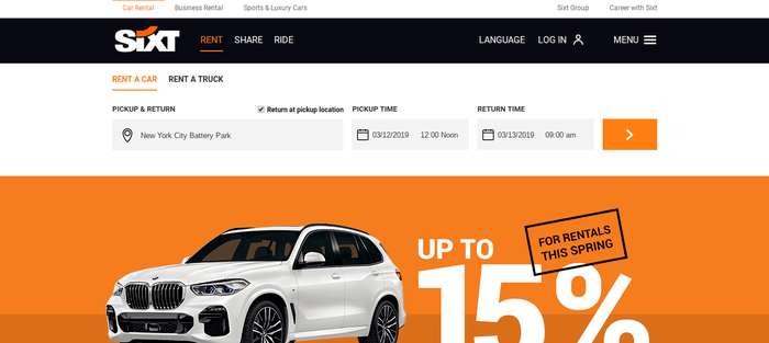 screenshot of the affiliate sign up page for Sixt Car Rental