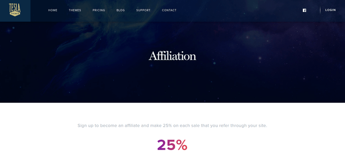 screenshot of the affiliate sign up page for TeslaThemes