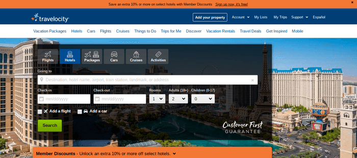 screenshot of the affiliate sign up page for Travelocity
