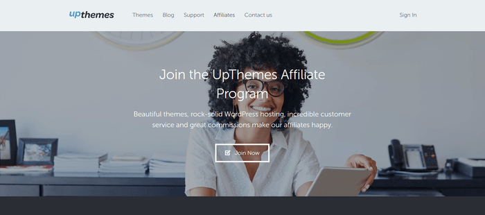 screenshot of the affiliate sign up page for UpThemes