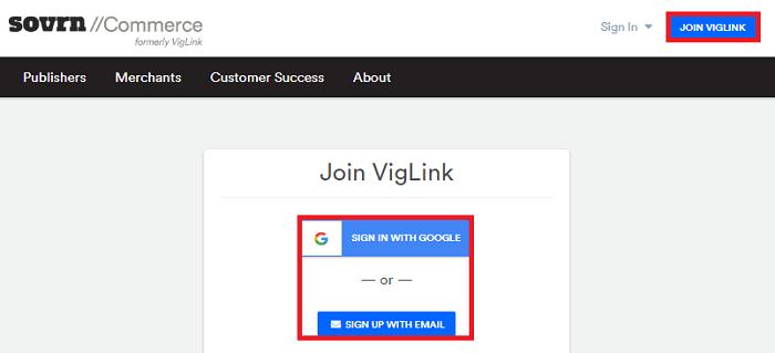 VigLink Sign Up