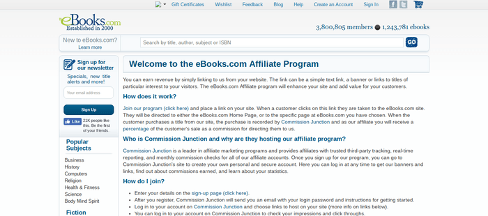 screenshot of the affiliate sign up page for eBooks.com