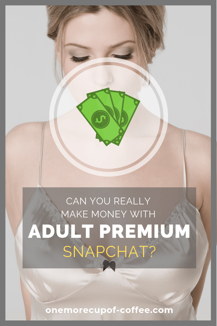 "woman in silk slip robe and graphic of dollars with the text ""can you really make money with adult premium snapchat"""