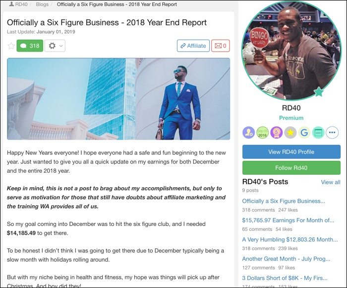 "screenshot from blog post ""officially a six figure business"""