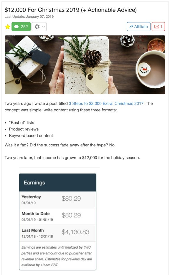 screenshot of a success story from Wealthy Affiliate