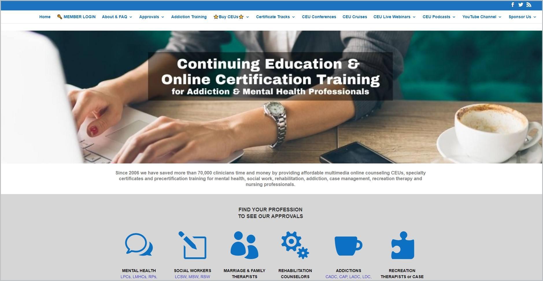 screenshot of AllCEUs homepage