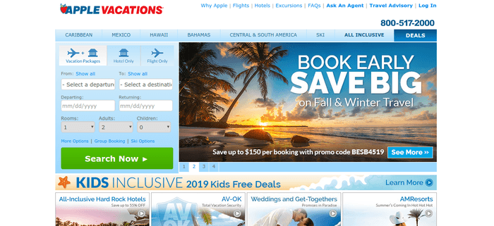 screenshot of the affiliate sign up page for Apple Vacations