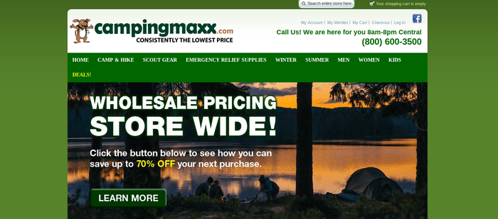 screenshot of the affiliate sign up page for Camping Maxx