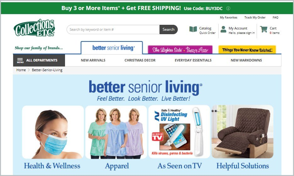 screenshot of Collections, Etc.'s Better Senior Living catalog