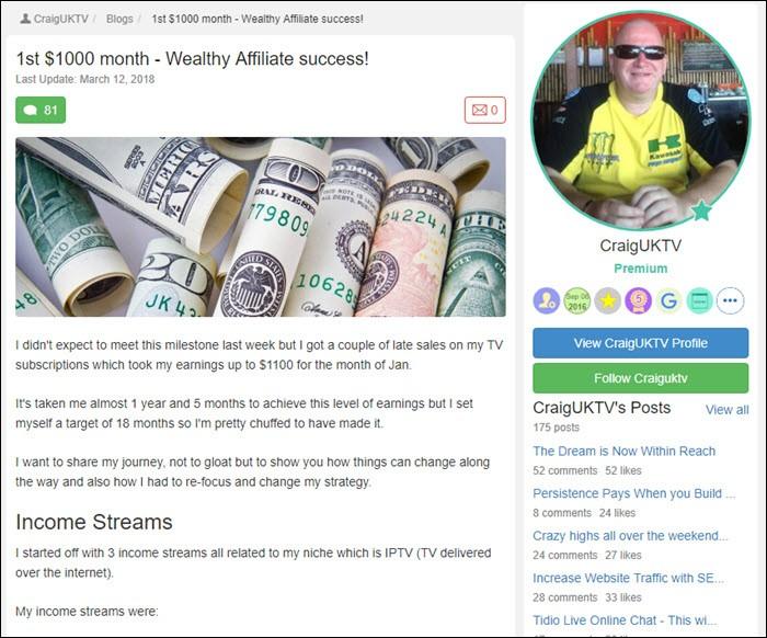 Success story from CraigUKTV