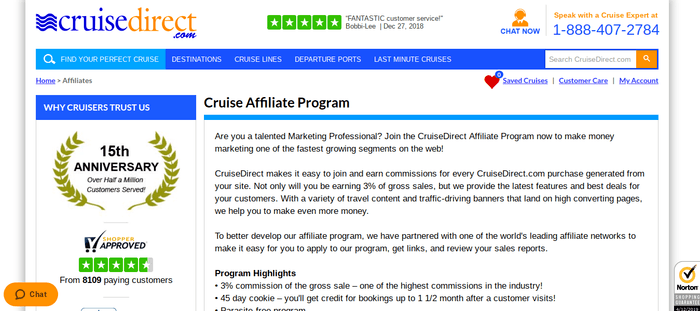 screenshot of the affiliate sign up page for CruiseDirect