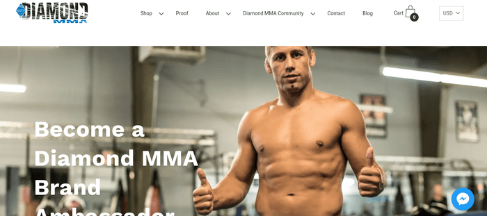 screenshot of the affiliate sign up page for Diamond MMA