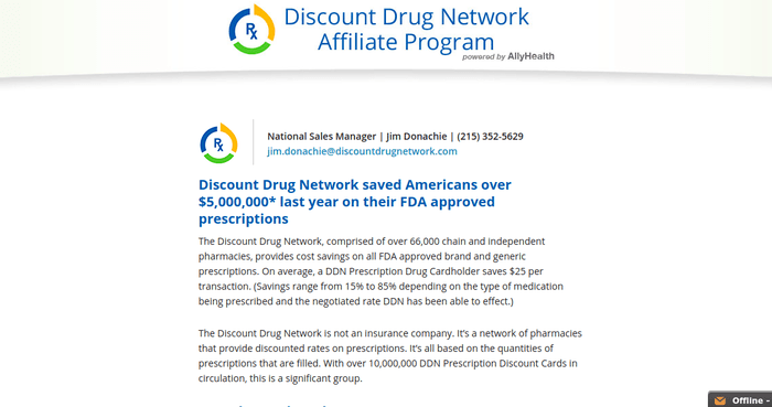 screenshot of the affiliate sign up page for Discount Drug Network