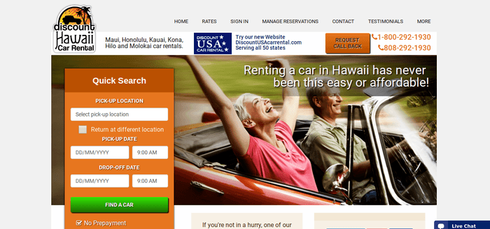 screenshot of the affiliate sign up page for Discount Hawaii Car Rental