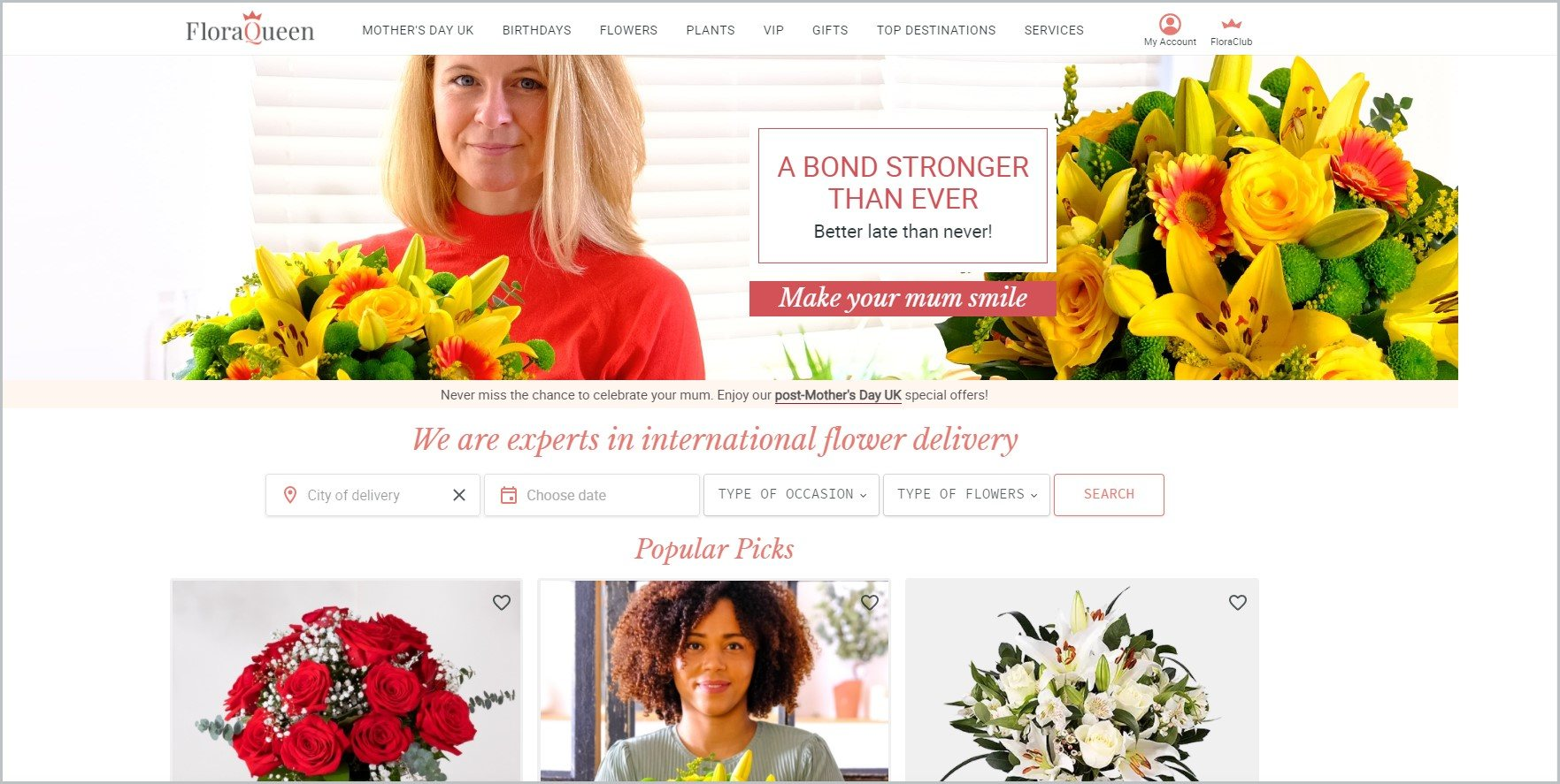 screenshot of FloraQueen homepage with images of woman holding a bouquet of flowers and other flower arrangements