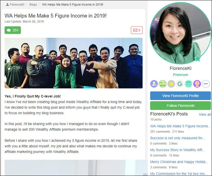 Success story from FlorenceKi