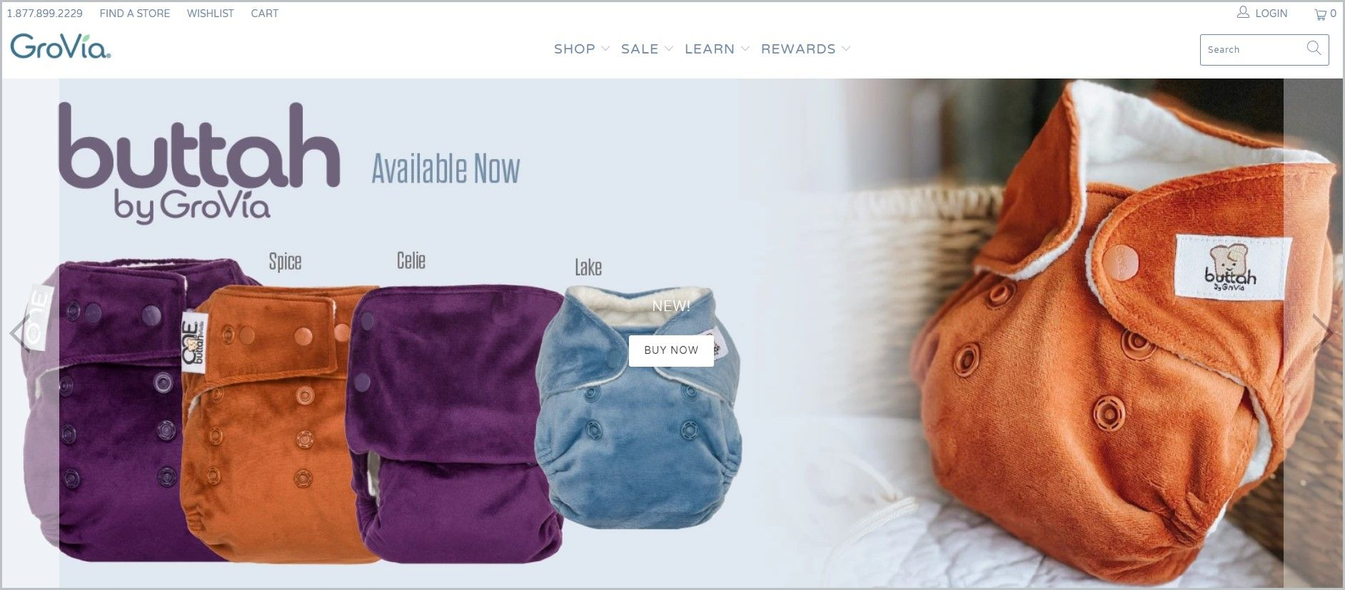 screenshot of GroVia homepage, with white header with the website's name and the main menu, with different colorful diapers as the featured image