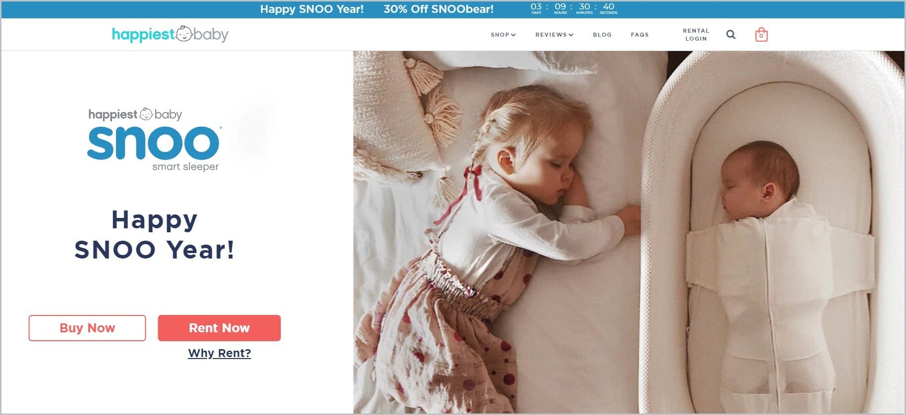 screenshot of Happiest Baby homepage with a sleeping toddler and baby as main featured image, with white header with the website's name and main navigation menu