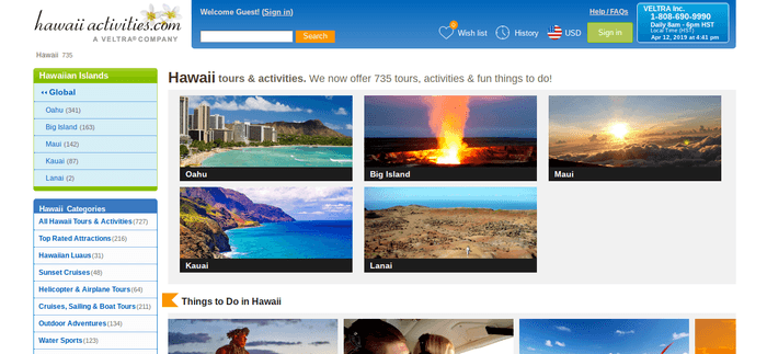 screenshot of the affiliate sign up page for Hawaii Activities