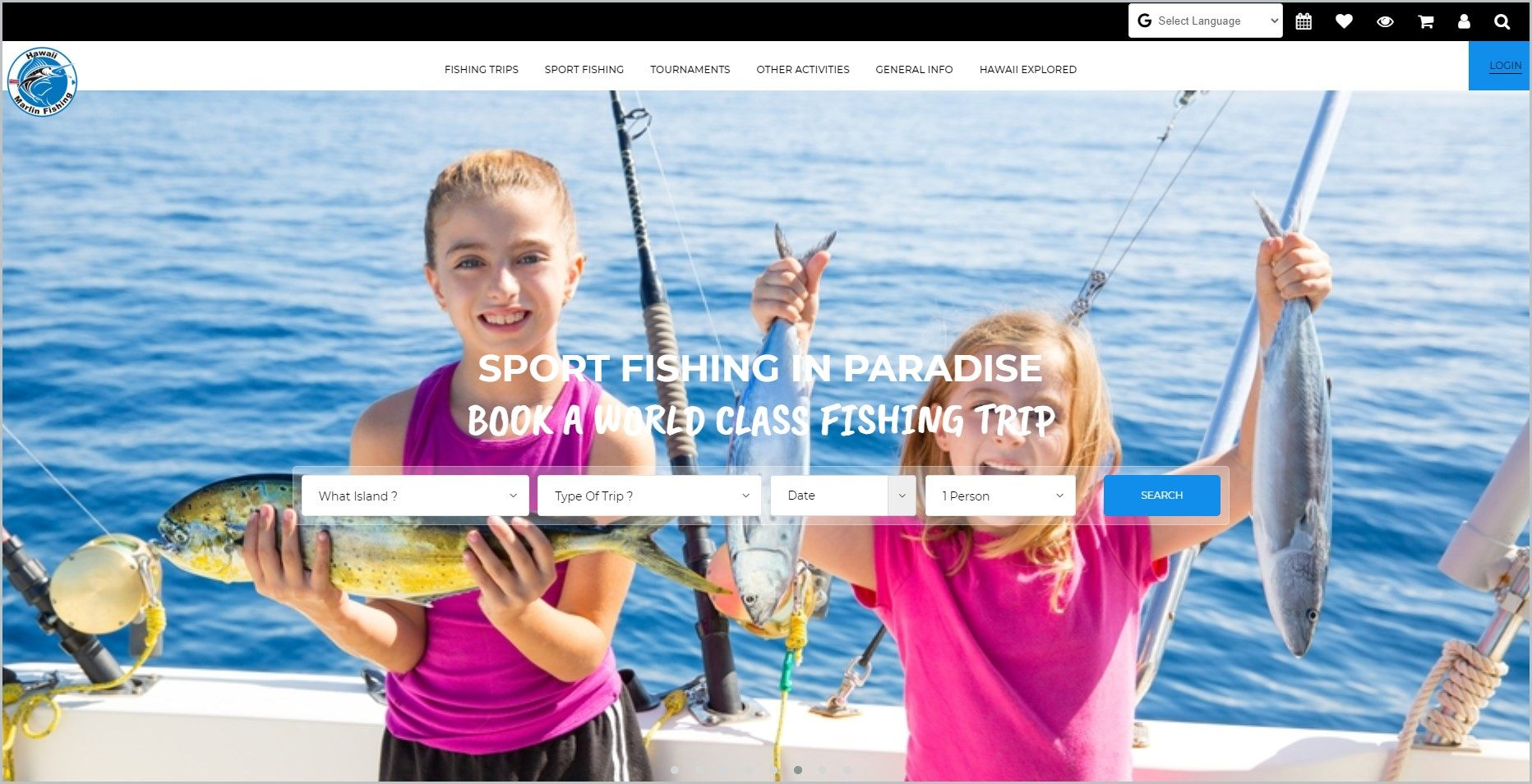 screenshot of Hawaii Marlin Fishing homepage, showing 2 young kids on a boat holding their caught fish as main picture with white header