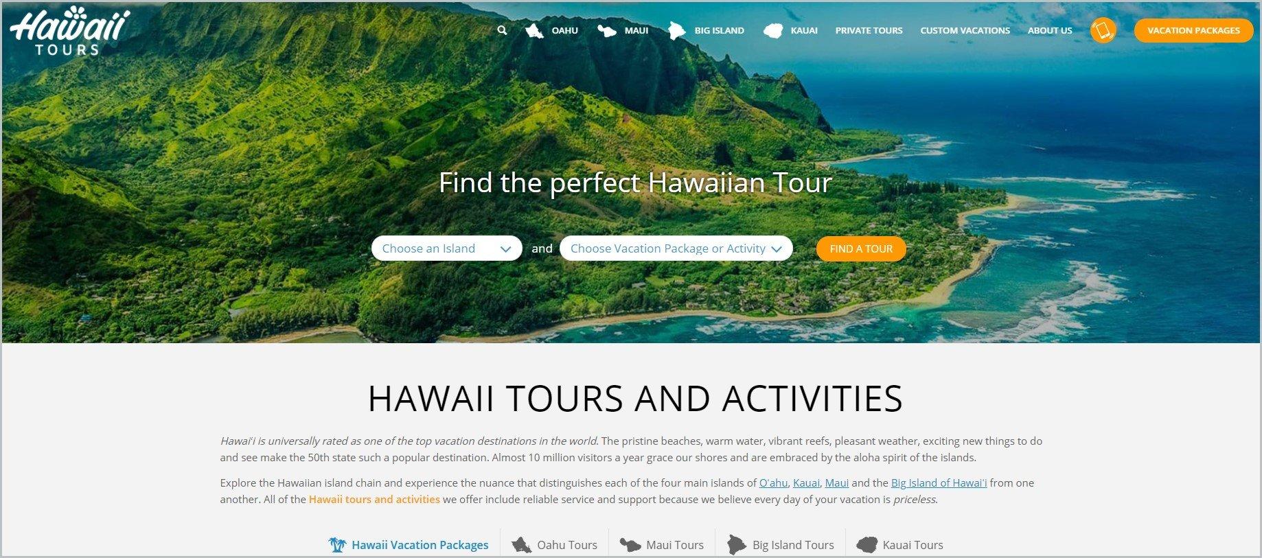screenshot of Hawaii Tours homepage, with the aerial view of Hawaiian islands