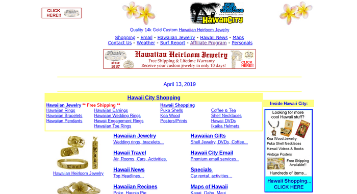 screenshot of the affiliate sign up page for HawaiiCity.com