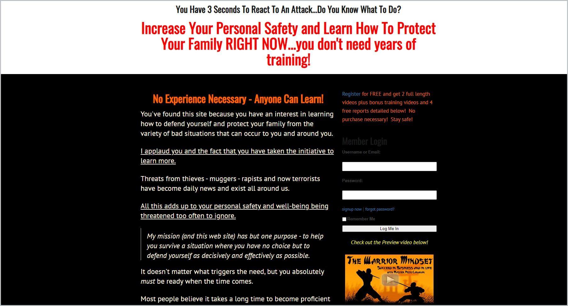 screenshot of Learn Self-Defense Online homepage