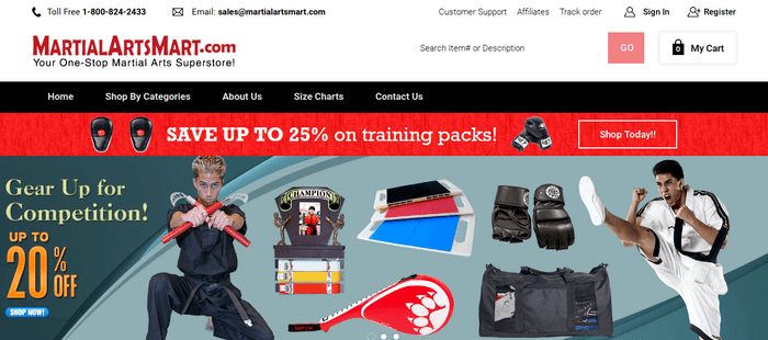 screenshot of the affiliate sign up page for MartialArtsMart.com