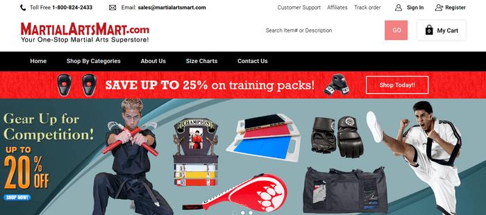 screenshot of the affiliate sign up page for MartialArtsMart.com