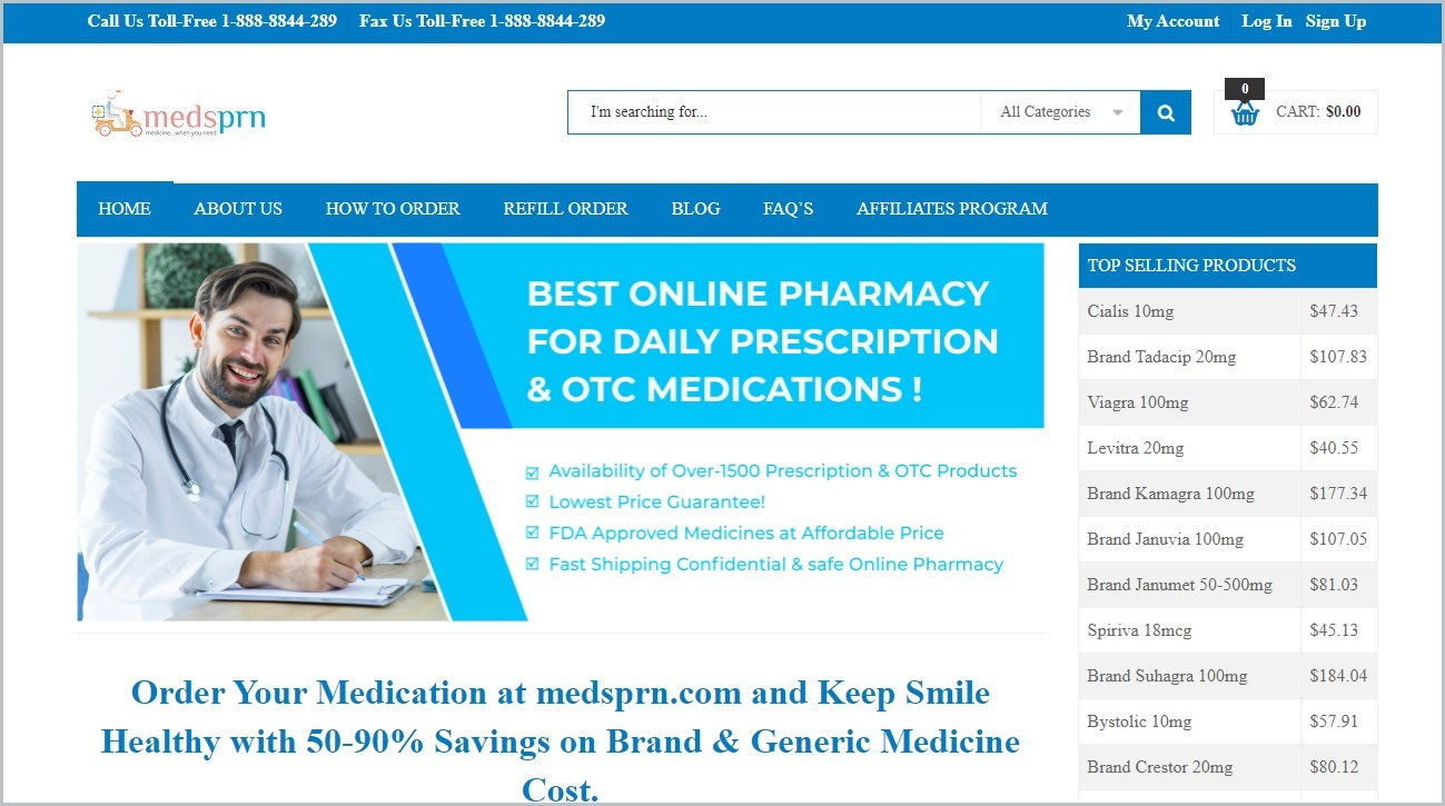 screenshot of Medsprn.com homepage with white header with the website's name and blue main navigation bar with the navigation menu, with main picture featuring a male doctor in white