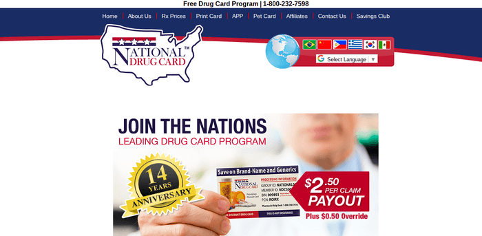 screenshot of the affiliate sign up page for National Drug Card