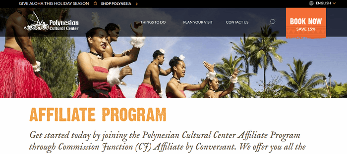 screenshot of the affiliate sign up page for Polynesian Cultural Center