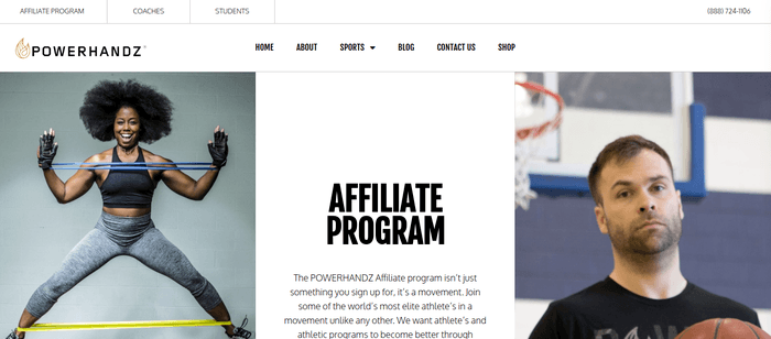 screenshot of the affiliate sign up page for Powerhandz