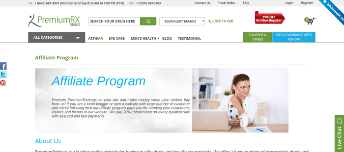 screenshot of the affiliate sign up page for PremiumRxdrugs