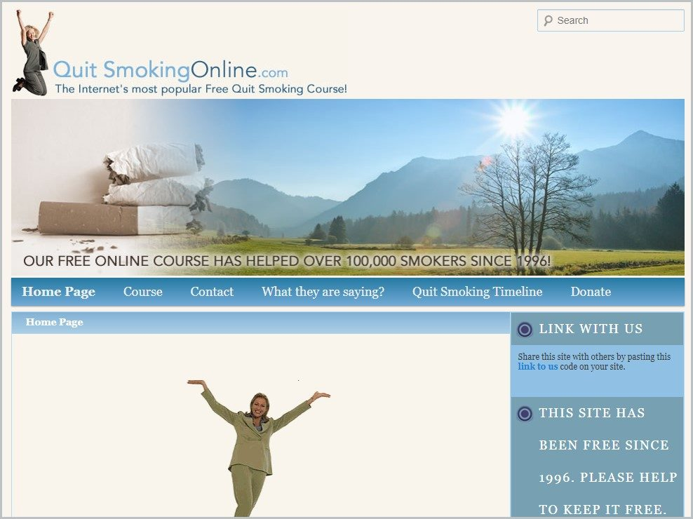 screenshot of QuitSmokingOnline.com homepage