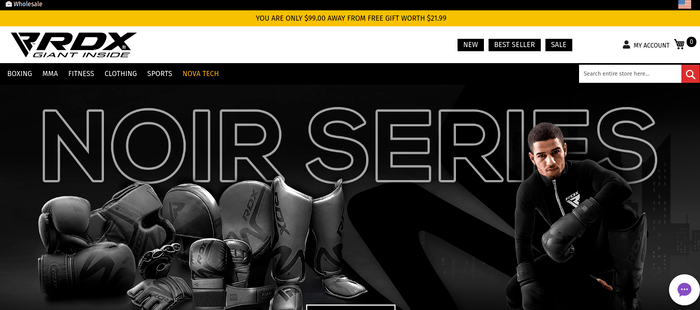 screenshot of the affiliate sign up page for RDX Sports